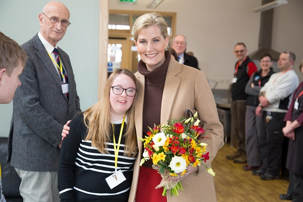 L-R: Emily Berry (Bendrigg Volunteer), HRH Countess of Wessex (John Holmes, Bendrigg Chairman in background)