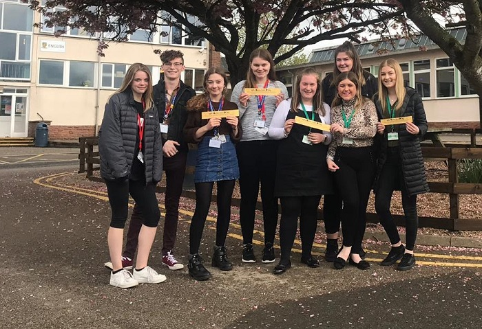 Some of the sixth form students from Ullswater Community College and Queen Elizabeth Grammar School, at their recent meeting showing off the golden RAK tickets