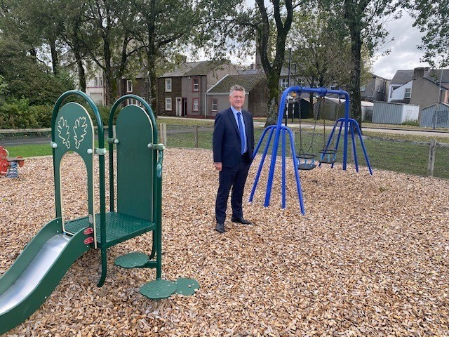 Work underway to renovate Jacktrees Rd play area in Cleator Moor. Picture: Copeland Borough Council (March 23, 2021)
