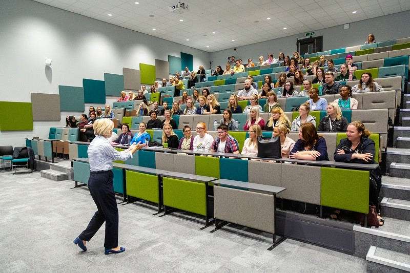 Ruth May addressing first year nursing students in the Sentamu Lecture Theatre, Lancaster