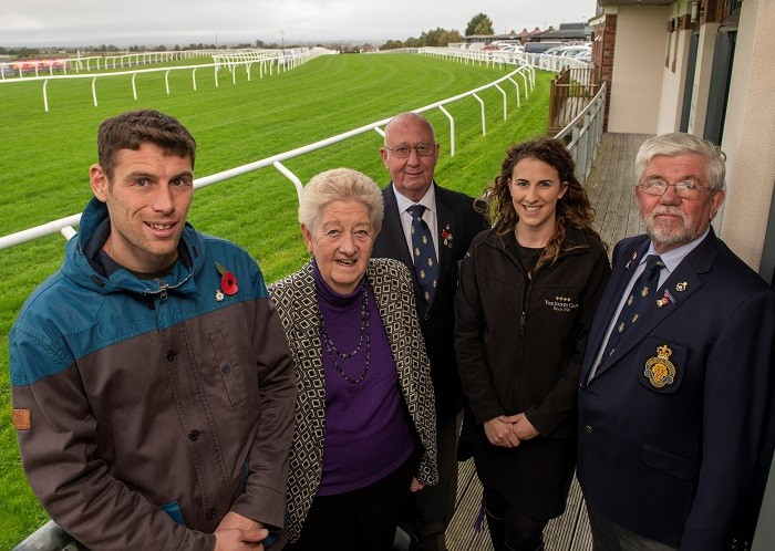 L-R: Richie Hinson (Carlisle and Eden Forces Link co-ordinator), Cllr Elizabeth Mallinson (Carlisle City Council Champion for Veterans), Dave Trussler Royal British Legion team leader, Molly Dingwall general manager Carlisle Racecourse, Tony Parrini (Royal British Legion Branch Secretary, Carlisle and Stanwix).