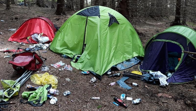 Illegal campers in Kielder