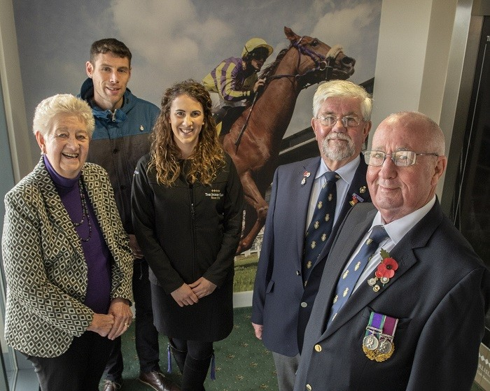 L-R: Cllr Elizabeth Mallinson (Carlisle City Council Champion for Veterans), Richie Hinson (Carlisle and Eden Forces Link co-ordinator), Dave Trussler Royal British Legion team leader, Molly Dingwall general manager Carlisle Racecourse, Tony Parrini (Royal British Legion Branch Secretary, Carlisle and Stanwix).