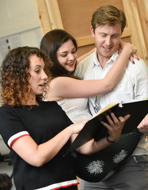 Sarah Kempton (Elinor Dashwood), Alice Imelda (Marianne Dashwood) and Thomas Richardson (Colonel Brandon). Photo by Robert Day.