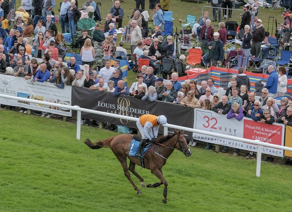 French horse Decor Irelandais at the finishing post in the first race at Cartmel. Photo Milton Haworth