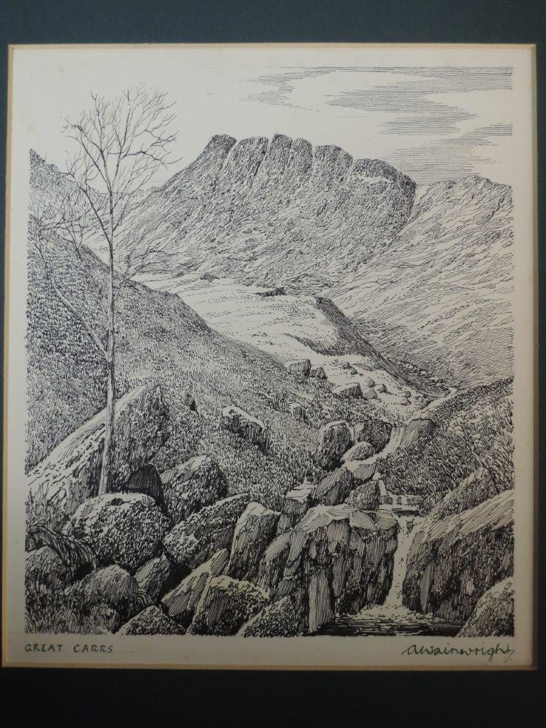 A signed sketch of Great Carrs by Alfred Wainwright