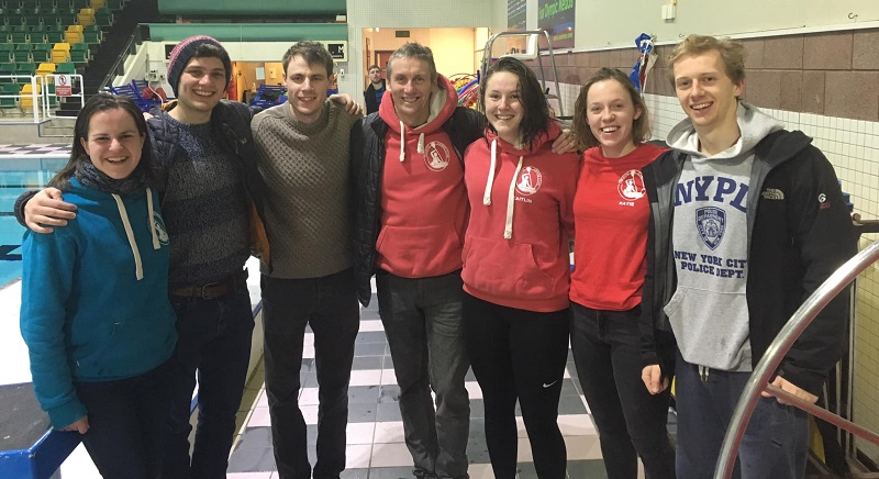 A team L to R: Hilary Clarke, Jack Dunn, Chris Archer, Tim Mather, Caitlin Fox, Katie Farley and Robin Helsby