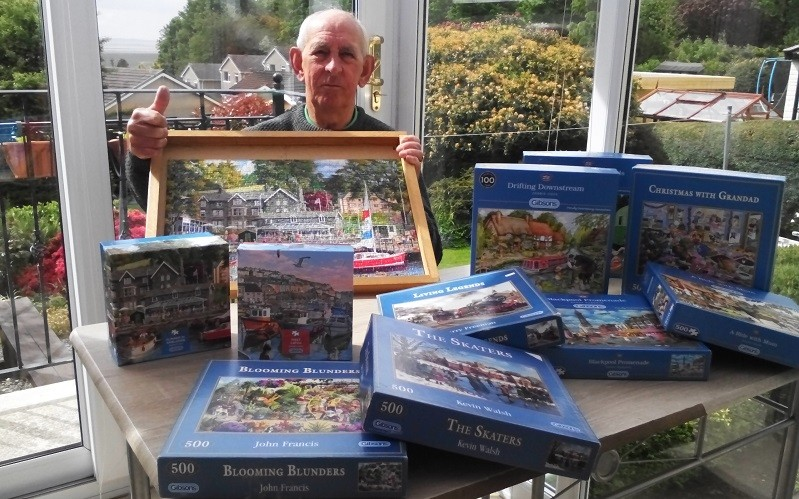 Putting Rosemere in the picture is jigsaw maestro Derek Barton, president of Allithwaite Bowling Club, whose lockdown challenge to help Rosemere Cancer Foundation was completing 10 jigsaws