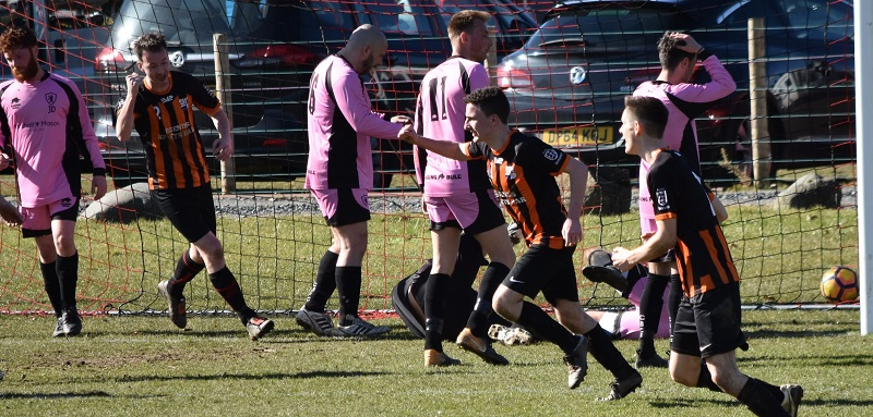 Adam Beaty puts Keswick Reserves 2-0 up against Carleton Banks (Ben Challis)