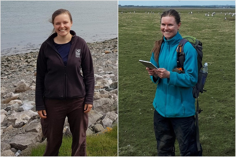 Alice Brooke, new seasonal warden at Foulney Island Nature Reserve and Erin Madden, new seasonal warden at Rockliffe Marsh in the Solway Firth