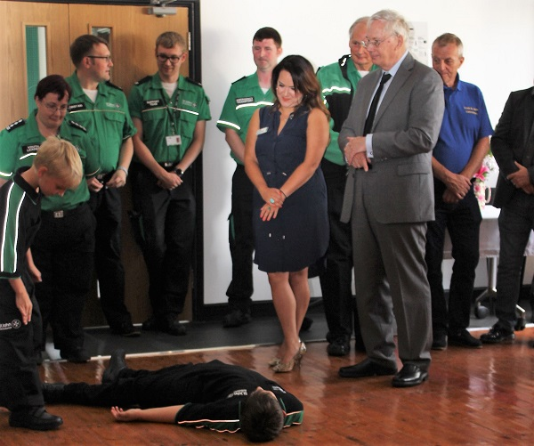 HRH the Duke of Gloucester looks on as cadets demonstrate first aid skills