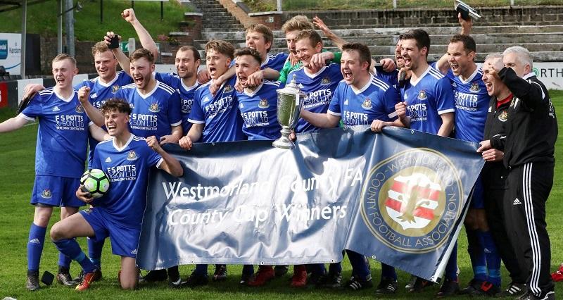 Appleby celebrate winning the Westmorland FA Senior Cup (Colin Watson)