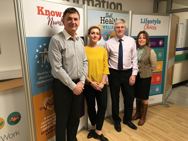 Better Health at Work Inspectors Ken Giles and Susanne Nichol with David Walker and Marie Spencer from UHMBT