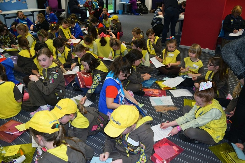 Brownies and Guides taking part in the new 'Clever Cogs' engineering challenge badge