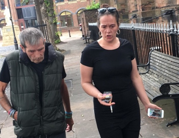 Charles Golightly and Stacy Thompson leaving Carlisle Crown Court