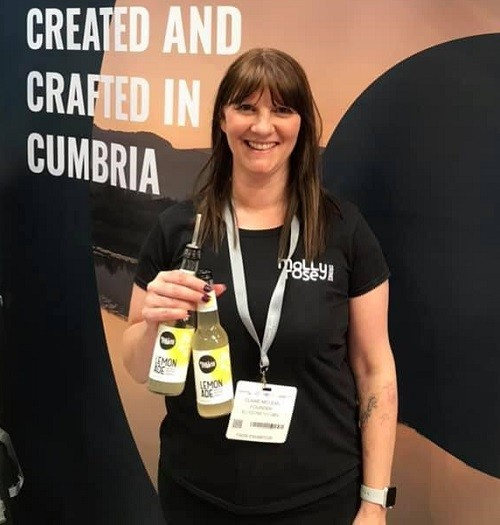 Claire of Molly Rose Drinks exhibiting within the Showcase Area of This is Cumbria at the Farm Shop & Deli Show 2019