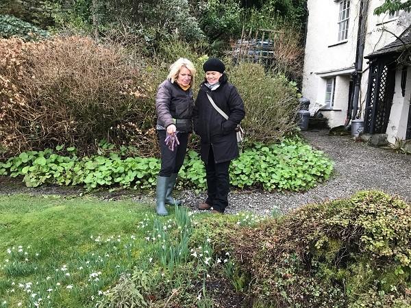 Clara and gardener Helen in the garden at Rydal Mount