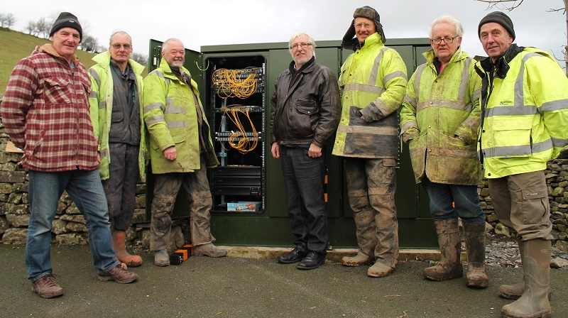Cllr Peter Thornton with volunteers from B4SW at the new broadband hub in New Hutton