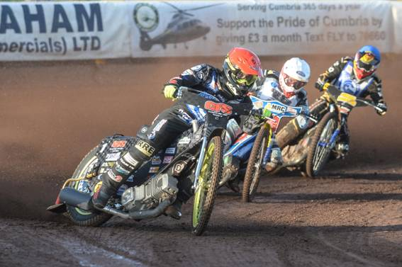 Comets skipper Craig Cook (red) leading Newcastle's Robert Lambert (white) and Comets team-mate Mason Campton (blue) during the first running of this KO Cup tie, which ended in a draw on aggregate to force a replay! (picture: Adrian Randall)