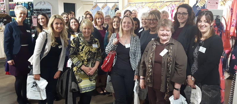 Sally Gillespie, far left with the #WomeninBusiness from @cumbriachamber viewing the new Gretna Green collection of @Joulesclothing