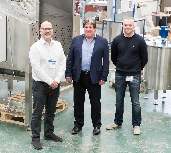 L-R: Robert Webb (Forth Engineering), Iain Crosley (MD of Hosokawa Micron) & James Swindlehurst (Primasonics)