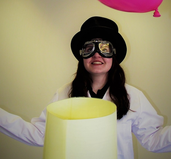 Professor Batty prepares her experiments for the summer half time show