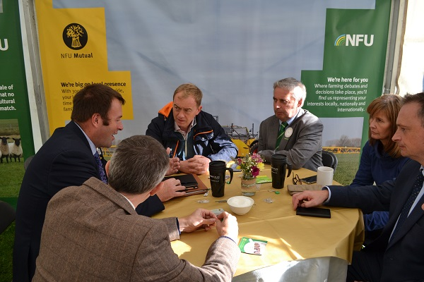 Tim Farron MP in a meeting with the National Farmers' Union at the Westmorland County Show