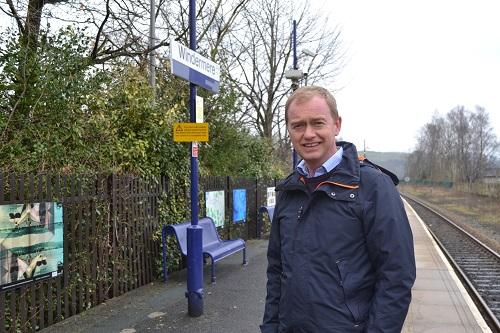 Tim Farron MP at Windermere station