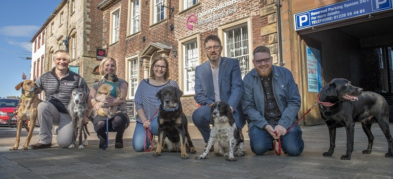 L-R: Nick Kennon with Benji and Fern, Sara Budniak with Rocco, Amy Farnell with Amber, Nick Turner with Julie and Dan Matthews with Finn. Photo Jonathan Becker