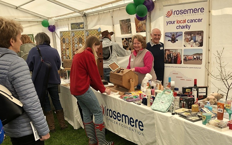 Sue Kershaw, Rosemere Cancer Foundation's 2020 Volunteer of the Year, working a fundraising stall at last year's Lyth Valley Damson Day