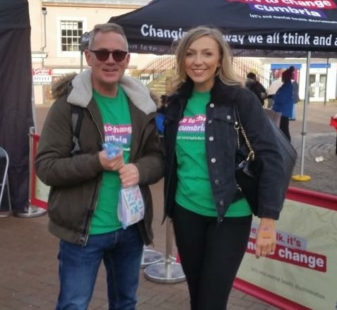 Darren Bee with Carlisle Champion Claire Bell (Miss Cumbria) at a Time to Talk Day event