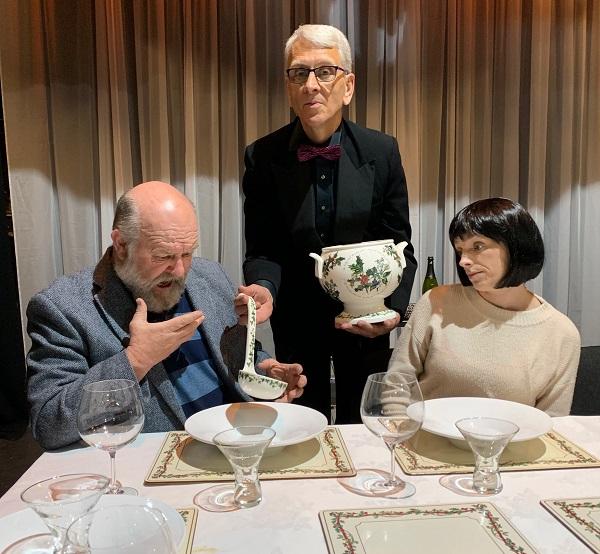 L-R: Morgan Sweeney (Hal), Jim Samson (The Waiter) and Jacqui Walker (Paige).