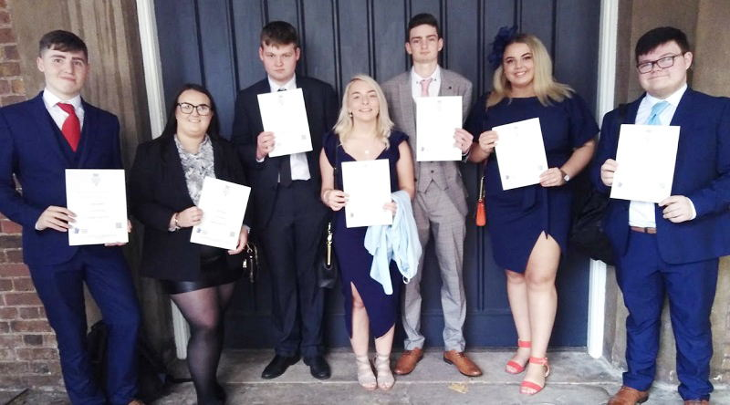 The students outside St James's Palace with their Duke of York Gold Award certificates