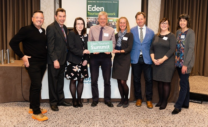 Nathan Alemany of UKinbound Tourism; Charlie Thornton, EDC Tourism Development Officer; Catherine Brockbank, EDC Technical Assistant; Jim Walker, Chair Eden Tourism Network; Jessica Goodfellow, Joint Tourism Manager; Daniel Holder of The Quiet Site; Laura Short of CBEN; and Sally Hemsley, Joint Tourism Manager