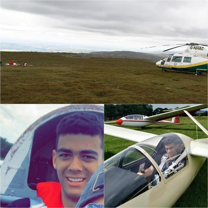 GNAAS at the scene of the crash and Olly Rastrick on previous gliding trips