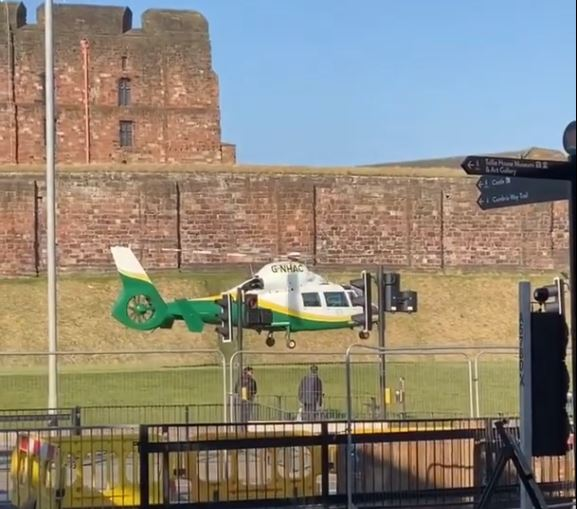 Great North Air Ambulance Service lands after a fatal collision on West Tower Street in Carlisle. March 1, 2021