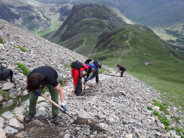 Fix the Fells Volunteer Lengthsmen maintaining the path on Gamlin End, Buttermere