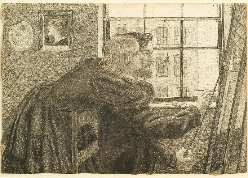 George Price Boyce with Fanny Cornforth in Rossettis Studio Chatham Place by Dante Gabriel Rossetti about 1858