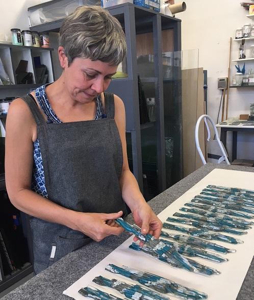 Glass artist Jo Vincent, creating the Cumbria Tourism Award trophies