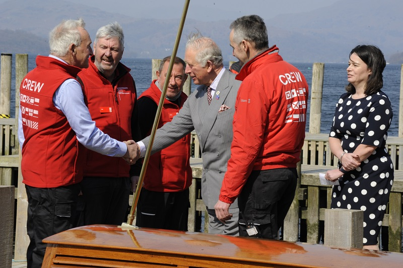 HRH The Prince of Wales is welcomed onboard Osprey by John Eaton, David Dunlop, Paul Pearson and Ian Shirra at Windermere Jetty. Photo Jan Chlebik