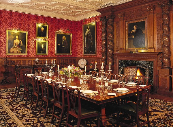 Harlequin Chippendale dining chairs in the Dining Room at great house, Holker Hall, one of the members of Cumbria's Living Heritage.