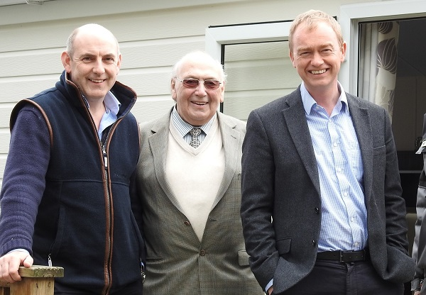 Henry and Syd Wild (left) with Tim Farron MP at Skelwith Fold during this April's English Tourism Week