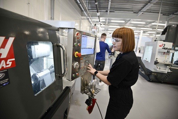 Engineering student Maya Thompson works in the Advanced Manufacturing and Technology Centre at Furness College's Channelside campus. The college's engineering degree programmes have been accredited by IET.