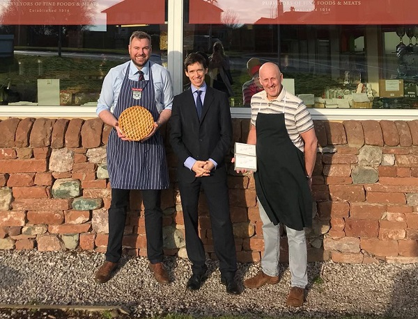 L-R: Peter Potts of Cranstons, Rory Stewart MP and Neil Boustead of The Toffee Shop