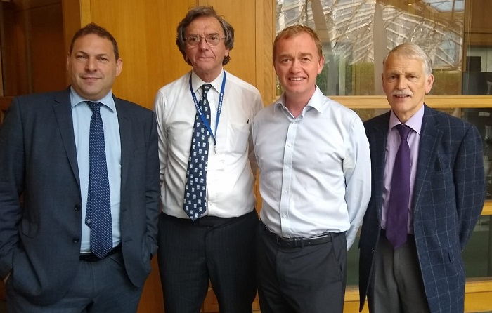 Tim Farron MP alongside Robert Talbot and Dick Smith from the Lakes Line Rail User Group and Darren Caplan, chief executive of the Railway Industry Association