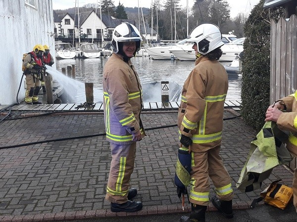 Chief Fire Officer Steve Healey at the scene of a boat fire on Windermere