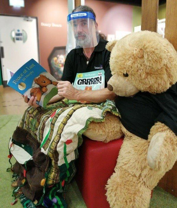 Alan Gillon, The Beacon Museum's Learning and Engagement Officer, with his assistant Big Ted