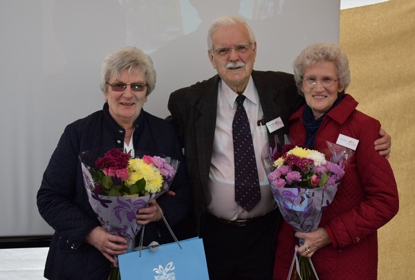 Shirley Armstrong, Frank Tebbutt (Honorary President of Oak Tree) and Ann Betts.