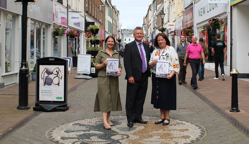 Trudy Harrison (Copeland MP), Mike Starkie (Mayor of Copeland) and Pat Graham (Copeland Council's Chief Executive) launch Whitehaven's Future High Streets Fund bid