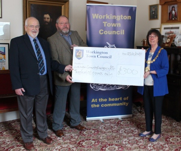 L-R: Keith Bennett, Hughie Stamper and Cllr Janet King, The Mayor of Workington